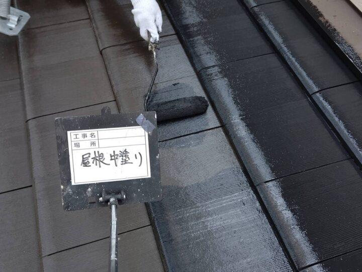 屋根 中塗り(上塗り1回目)